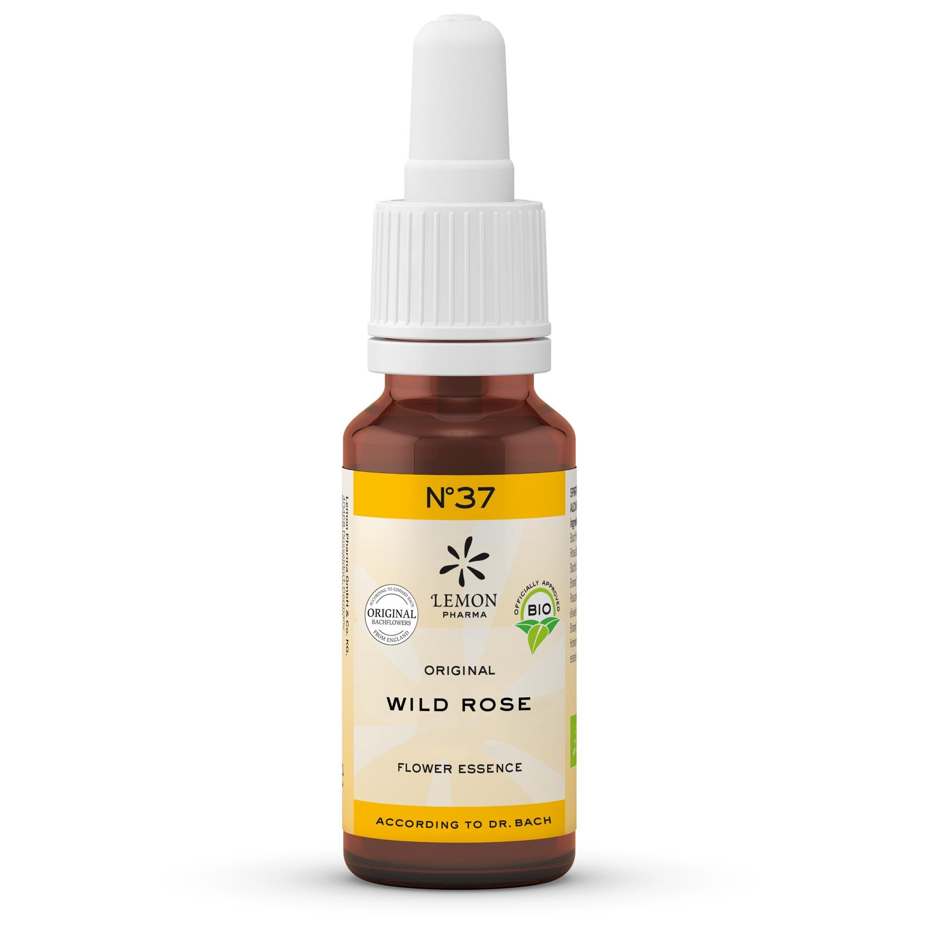 Fiori di Bach originali Lemon Pharma gocce Nr 37 Wild Rose rosa canina gioia di vivere